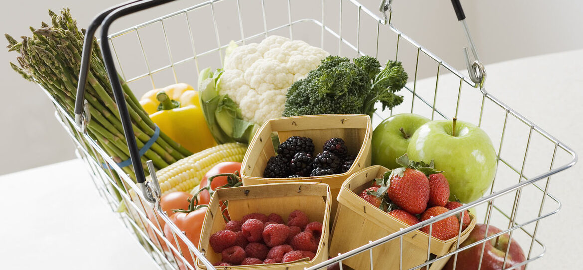 Fresh Fruit and Vegetables in Basket